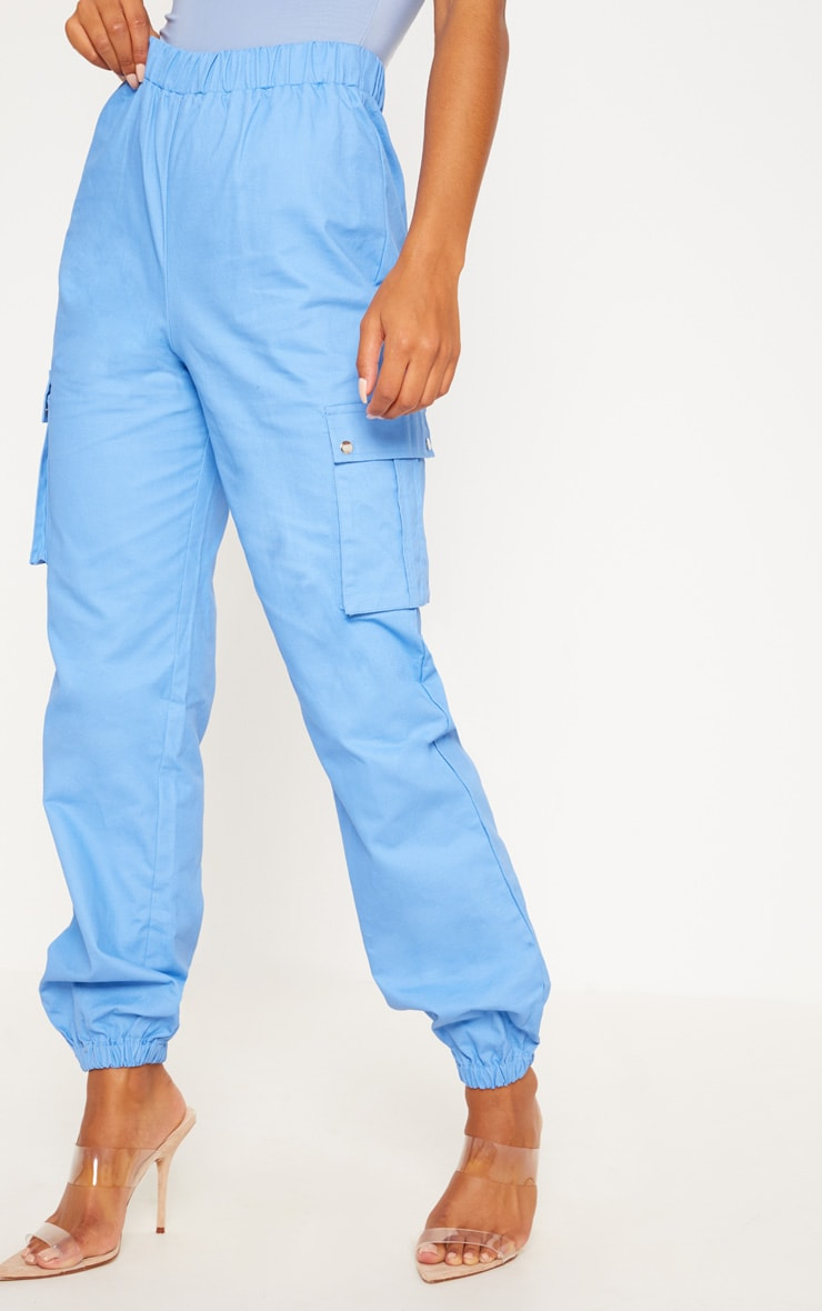 Blue Pocket Detail Cargo Pants 3