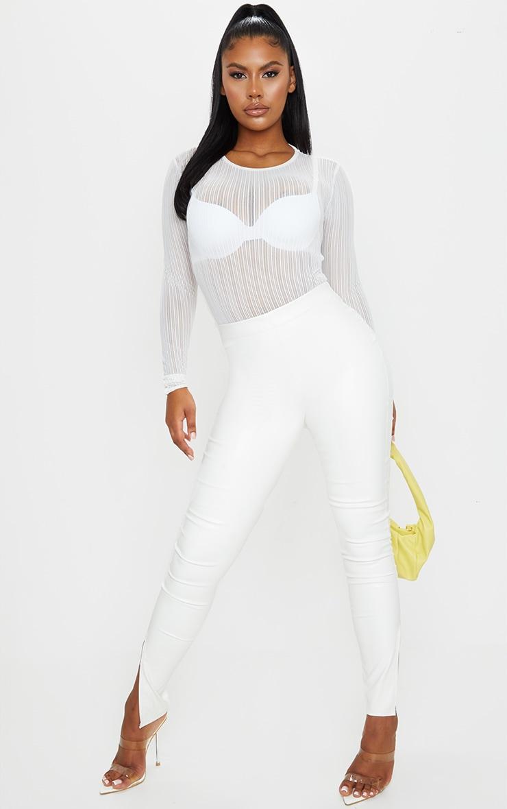 White Mesh Cut Out Back Bodysuit 3