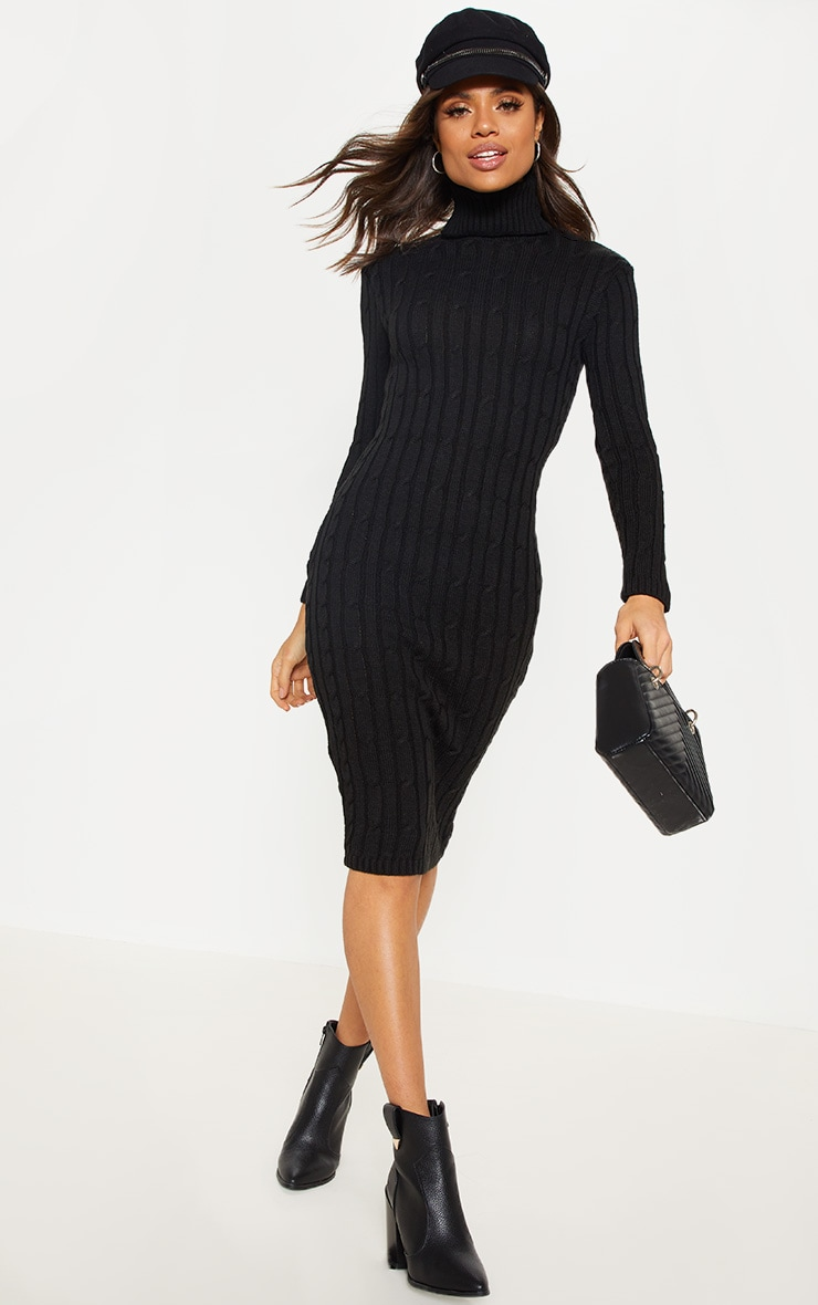 Black Cable Knitted Long Sleeve Dress 1