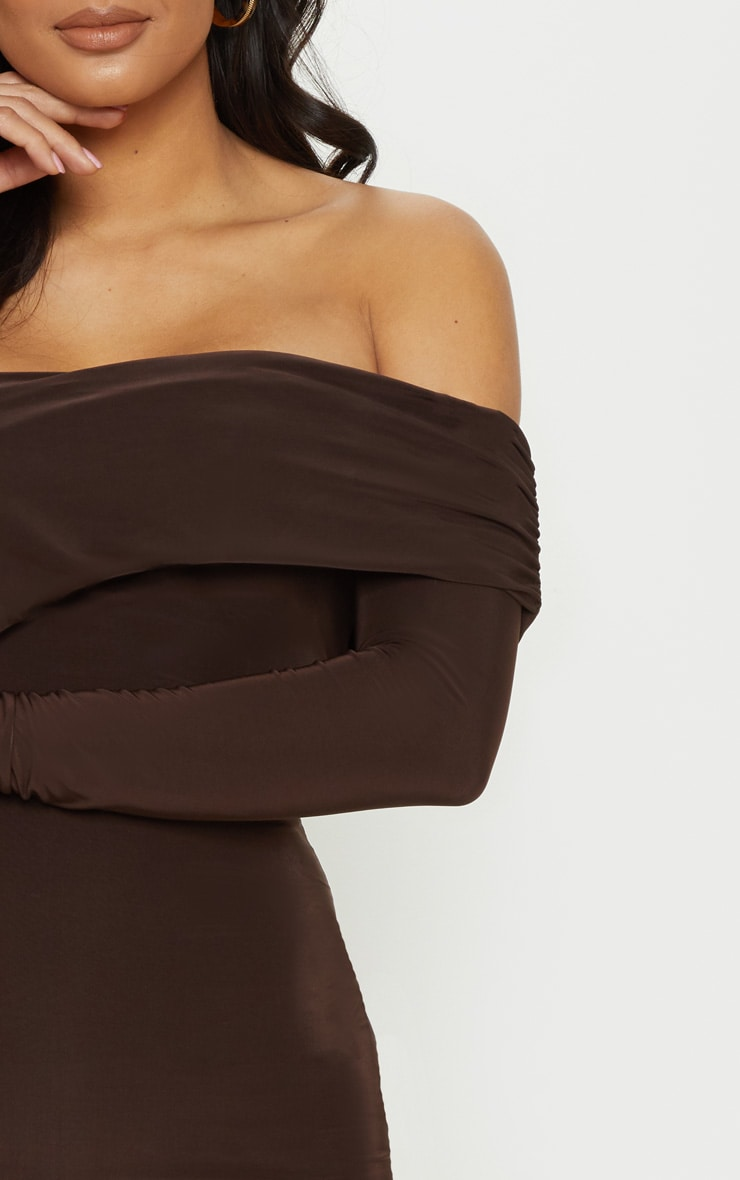 Chocolate Brown Slinky Fold Over Bodycon Dress 5