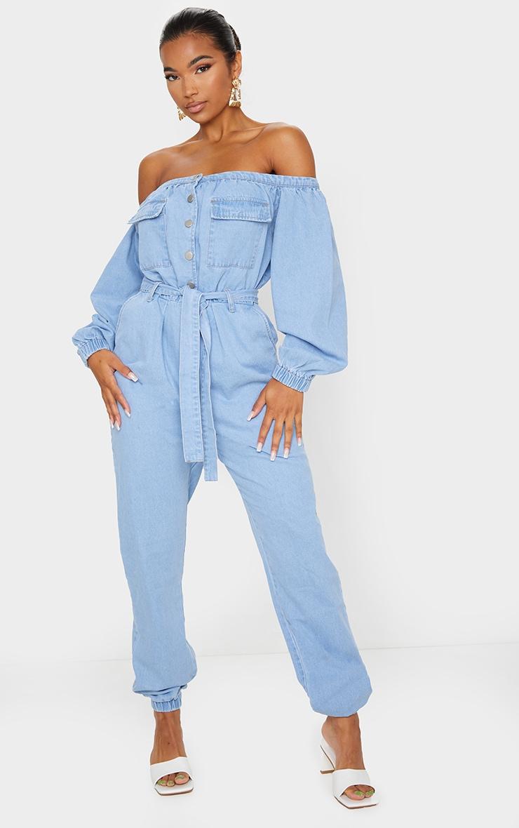 Light Blue Wash Bardot Button Through Denim Joggers Jumpsuit 1