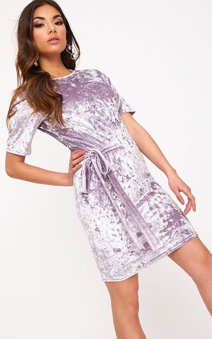 Lula Lilac Crushed Velvet Tie Side T Shirt Dress  1