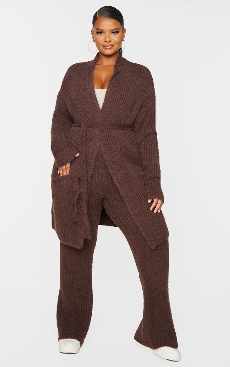 Plus Chocolate Ribbed Eyelash Knit Belted Cardigan 1