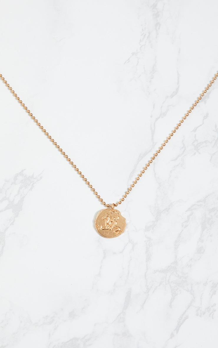 Gold Zodiac Gemini Coin Pendant Necklace 3
