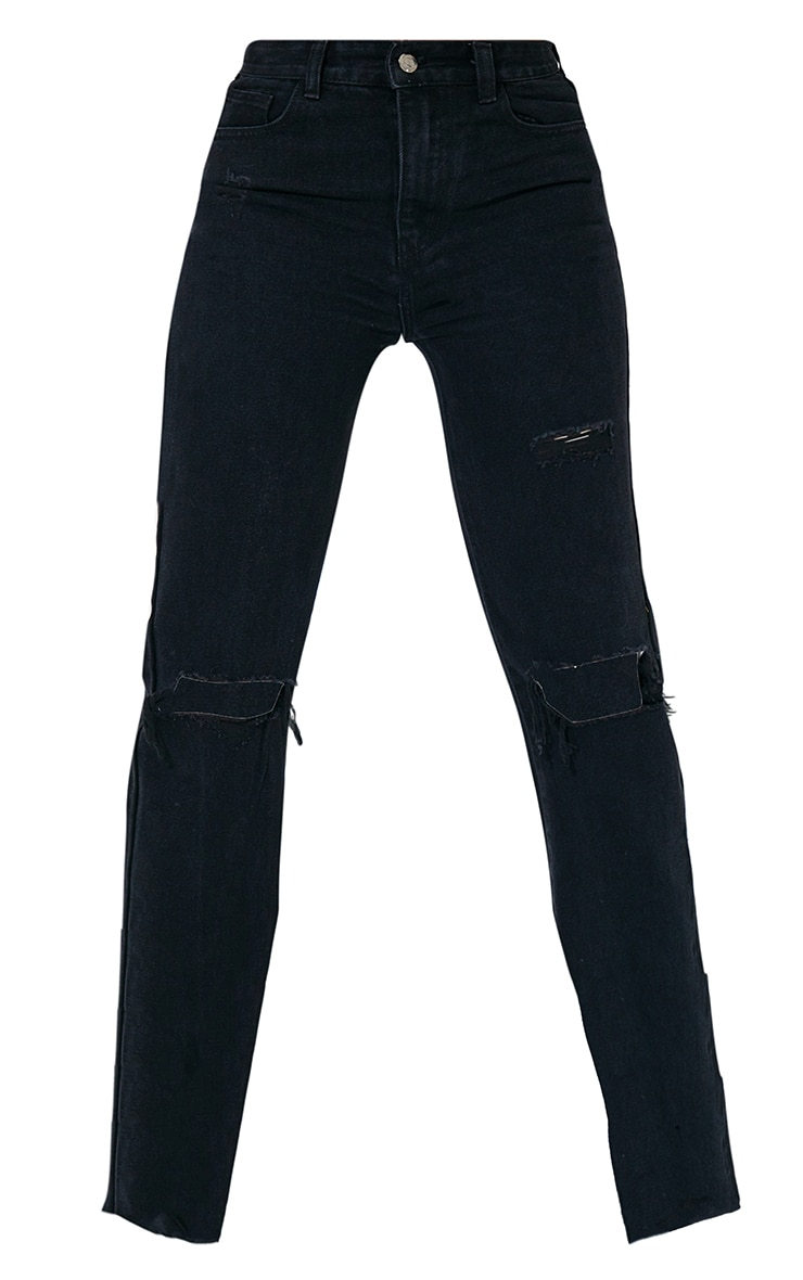 PRETTYLITTLETHING Tall Washed Black Long Leg Straight Jean 6