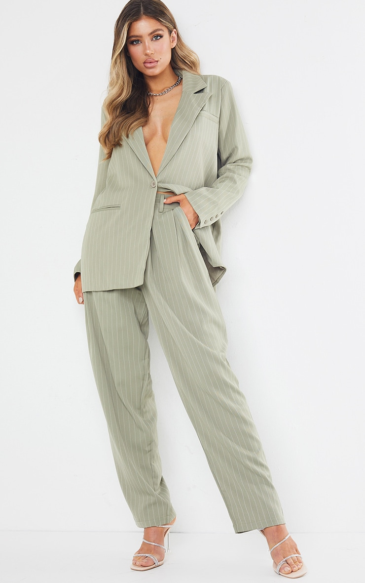 Sage Green Pinstripe Woven High Waisted Cigarette Trousers 1