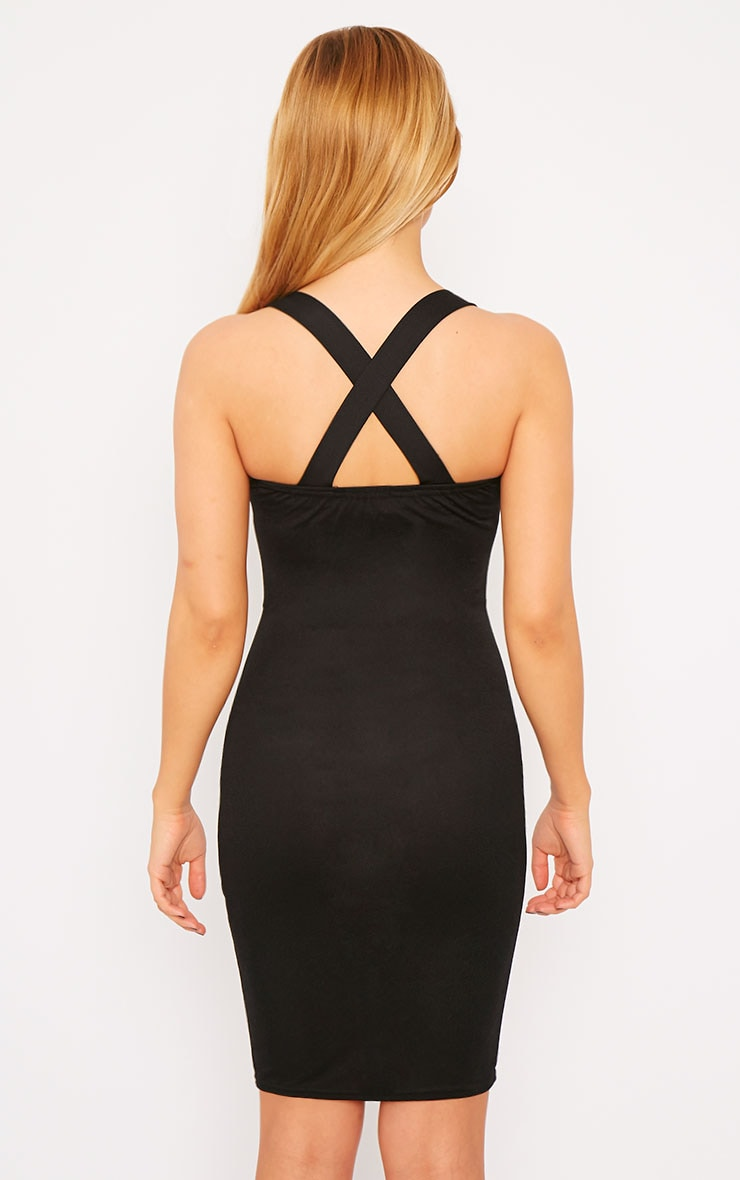 Habiba Black Crepe Keyhole Cut Out Mini Dress 2