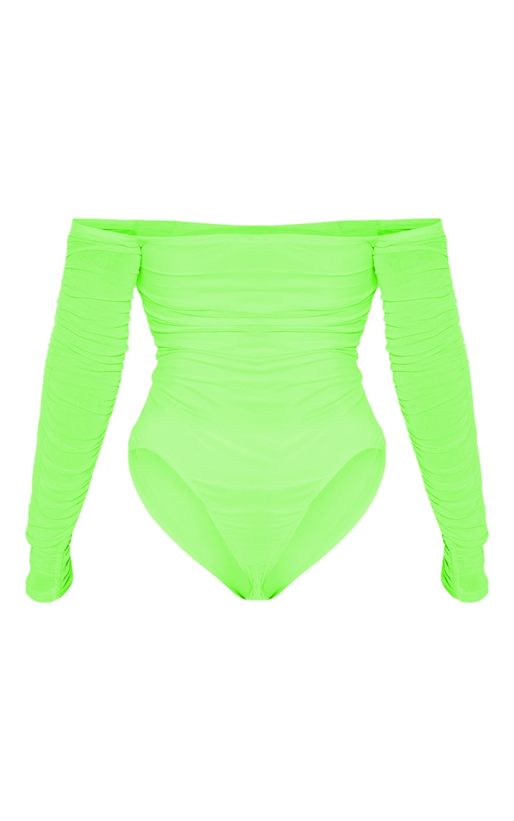 Lime Ruched Mesh Bardot Bodysuit 4