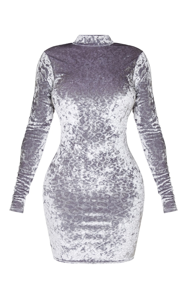 Shape Grey Leopard Print Velvet Cut Out Back Bodycon Dress 5