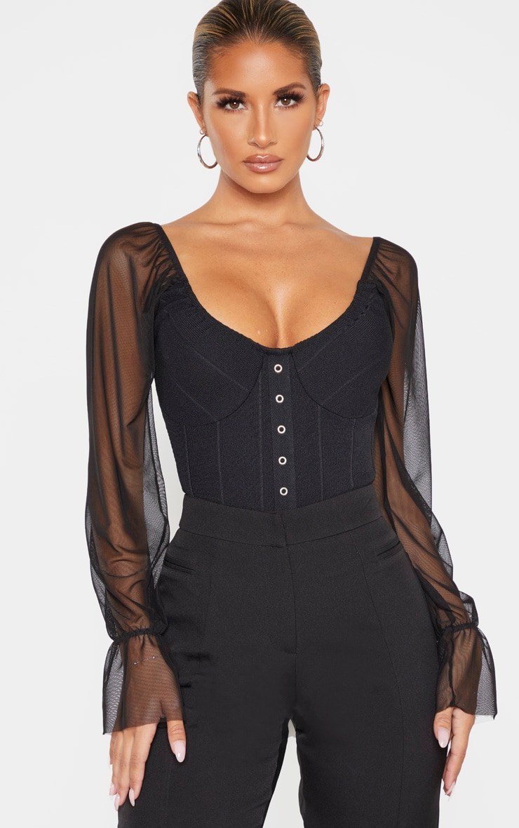 Black Rib Mesh Sleeve Bodysuit 1