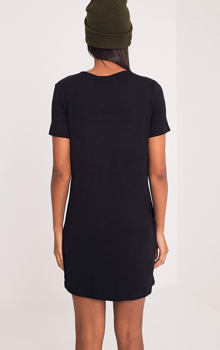 Sharley Black Ruffle Detail T-Shirt Dress 2