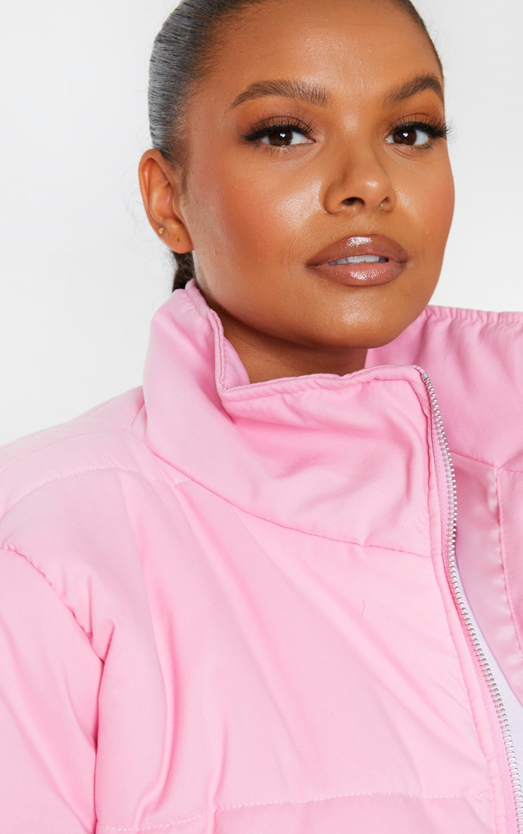 Plus Pink Super Cropped Peach Skin Puffer 4