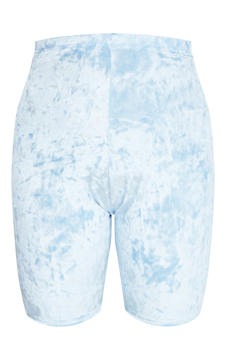 Plus Baby Blue Velvet Bike Shorts 4