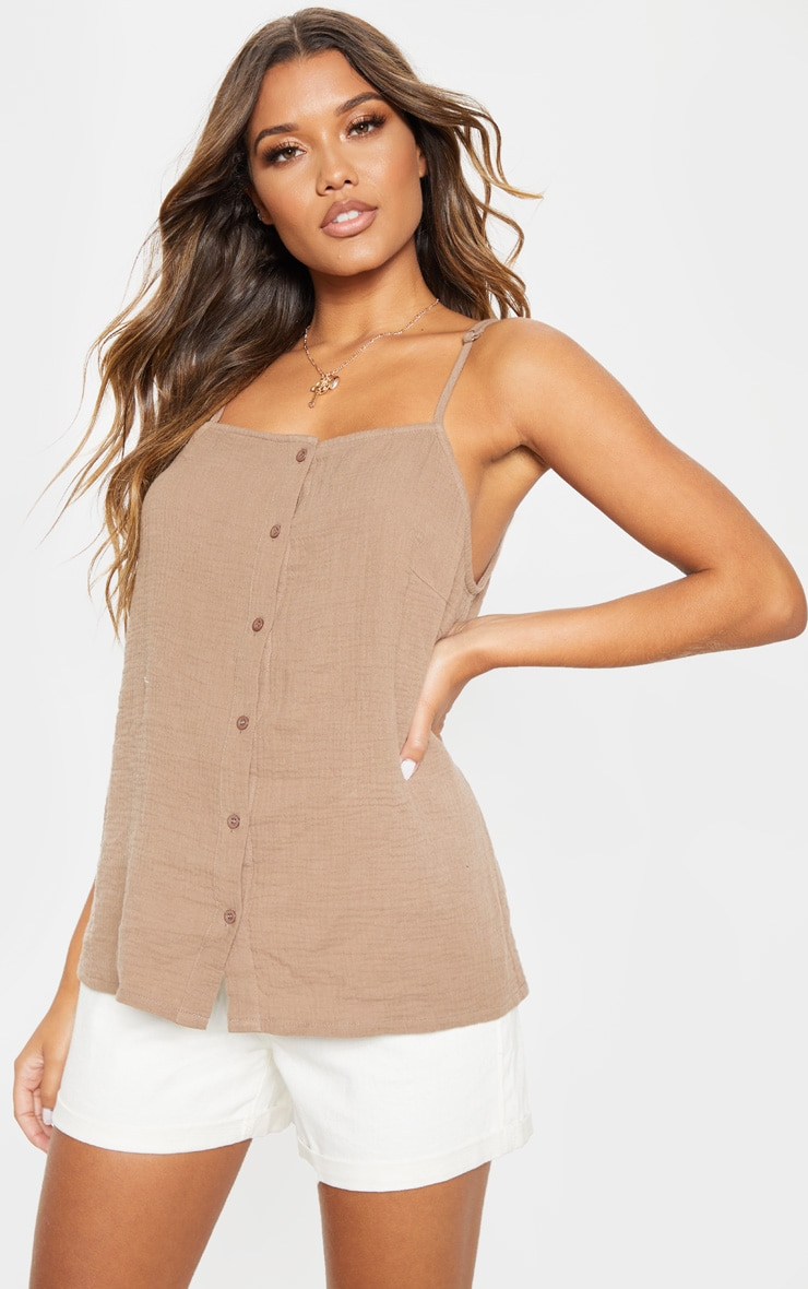Taupe Linen Mix Button Front Oversized Cami Top 1