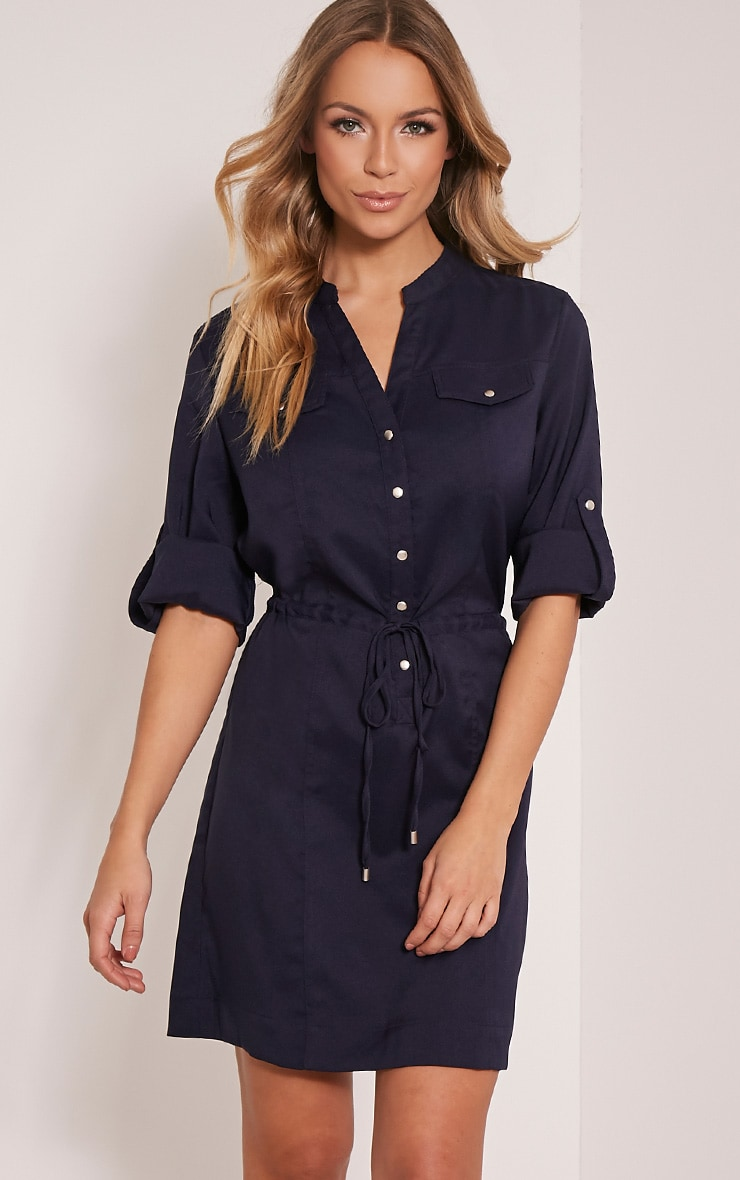 Teeya Navy Collarless Shirt Dress 1