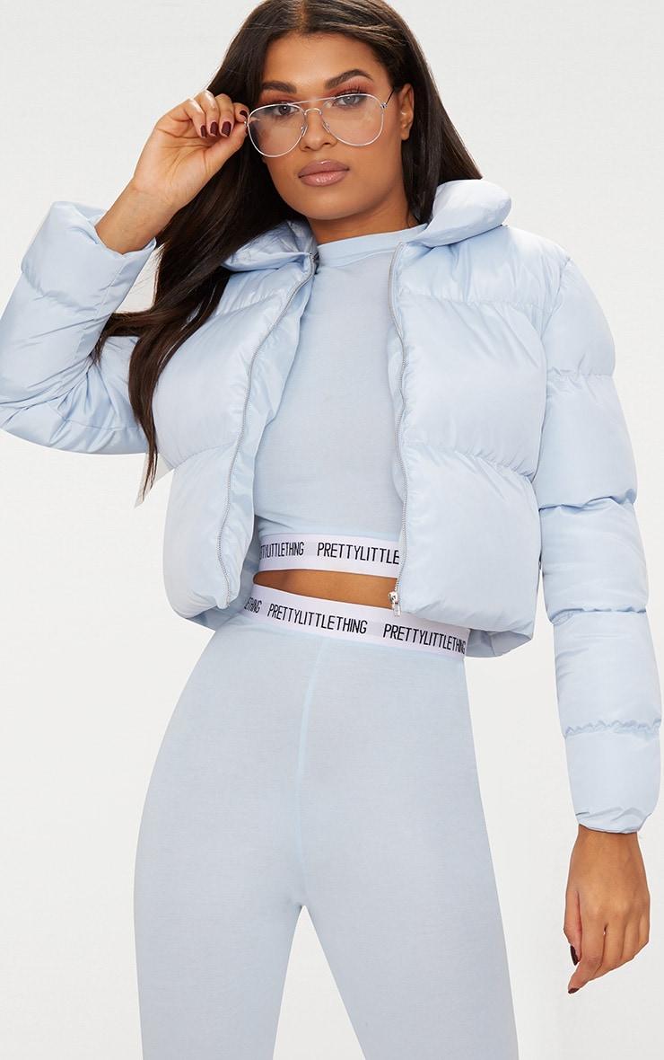 Baby Blue Cropped  Puffer Jacket 1