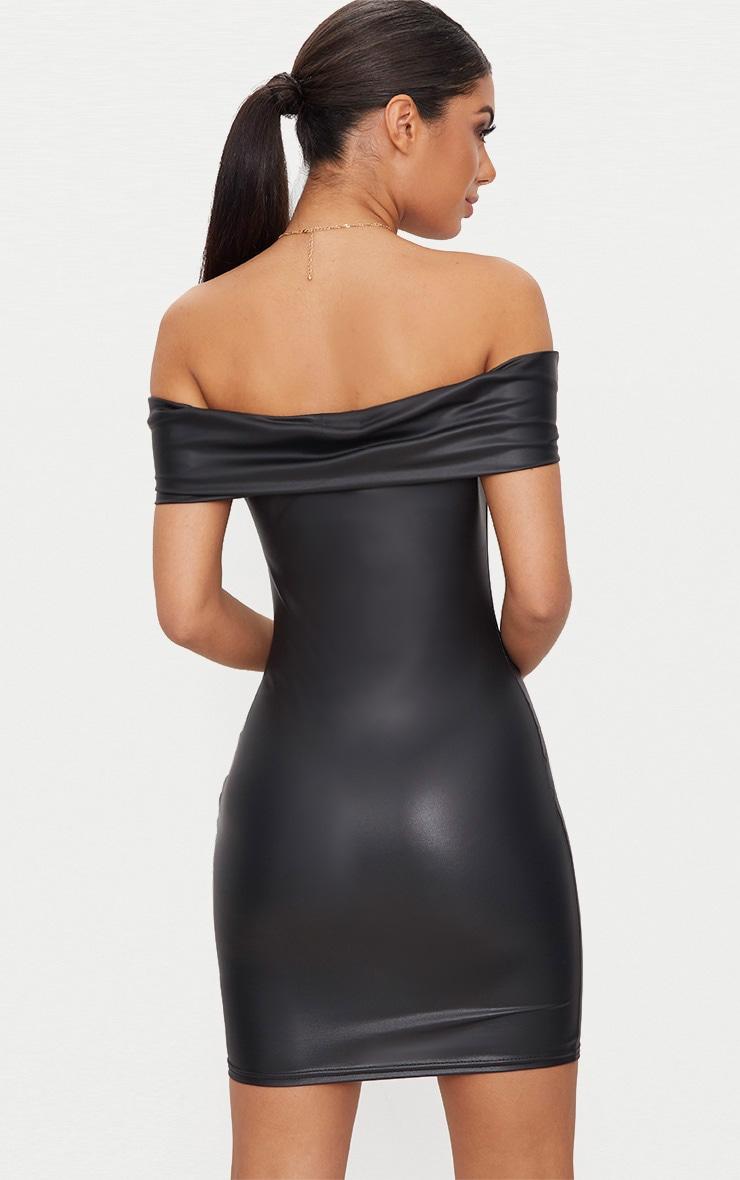 Black Vinyl Knot Detail Bardot Bodycon Dress 2