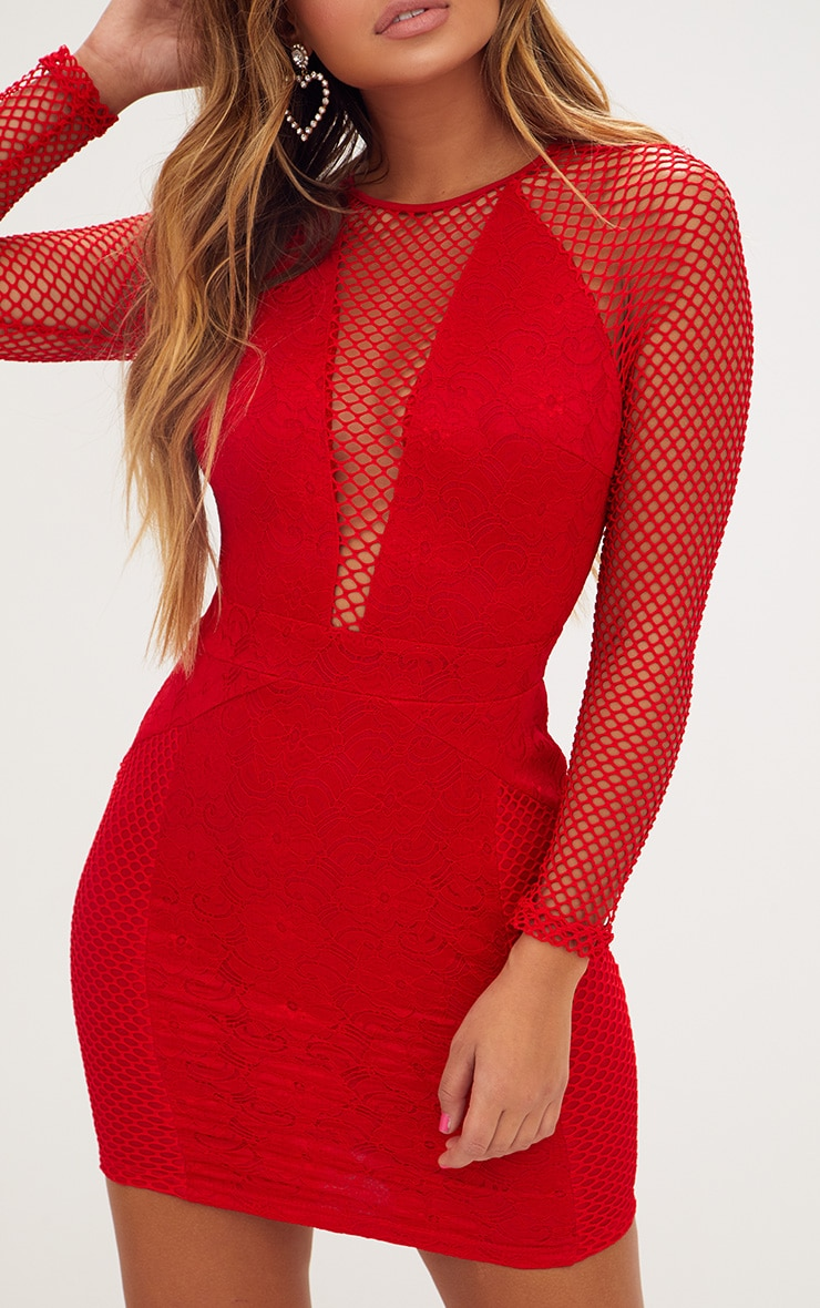 Red Long Sleeved Panelled Lace Bodycon Dress  5