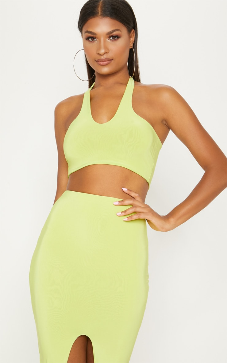 Lime Slinky High Neck Tie Back Crop Top