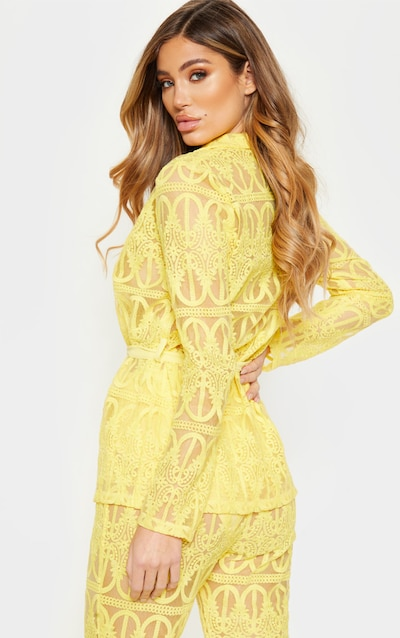 Bright Yellow Sheer Embroidered Jacket