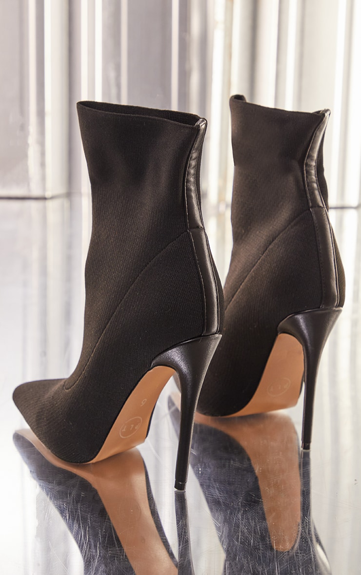 Black Knitted Pointed Sock Boots 4