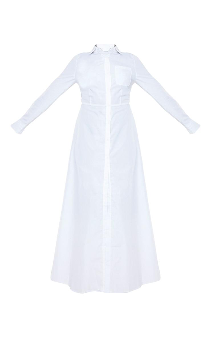 White Woven Button Front Maxi Shirt Dress 5
