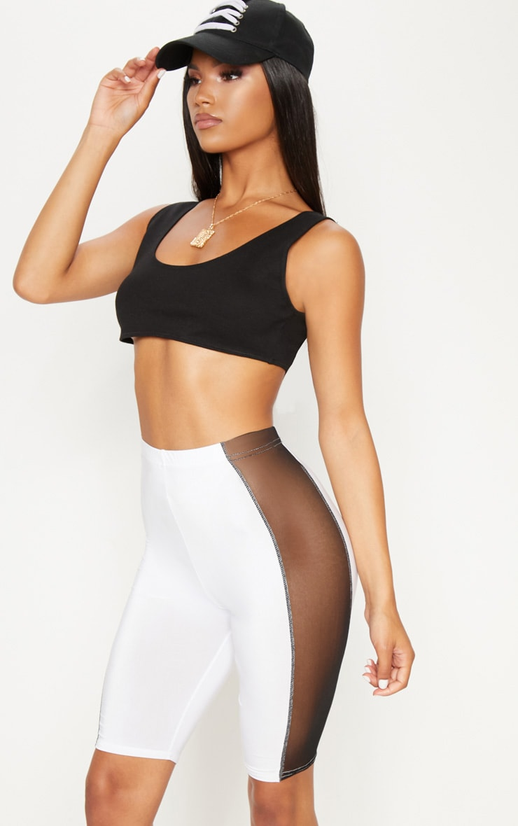 White Slinky Mesh Panel Cycle Short
