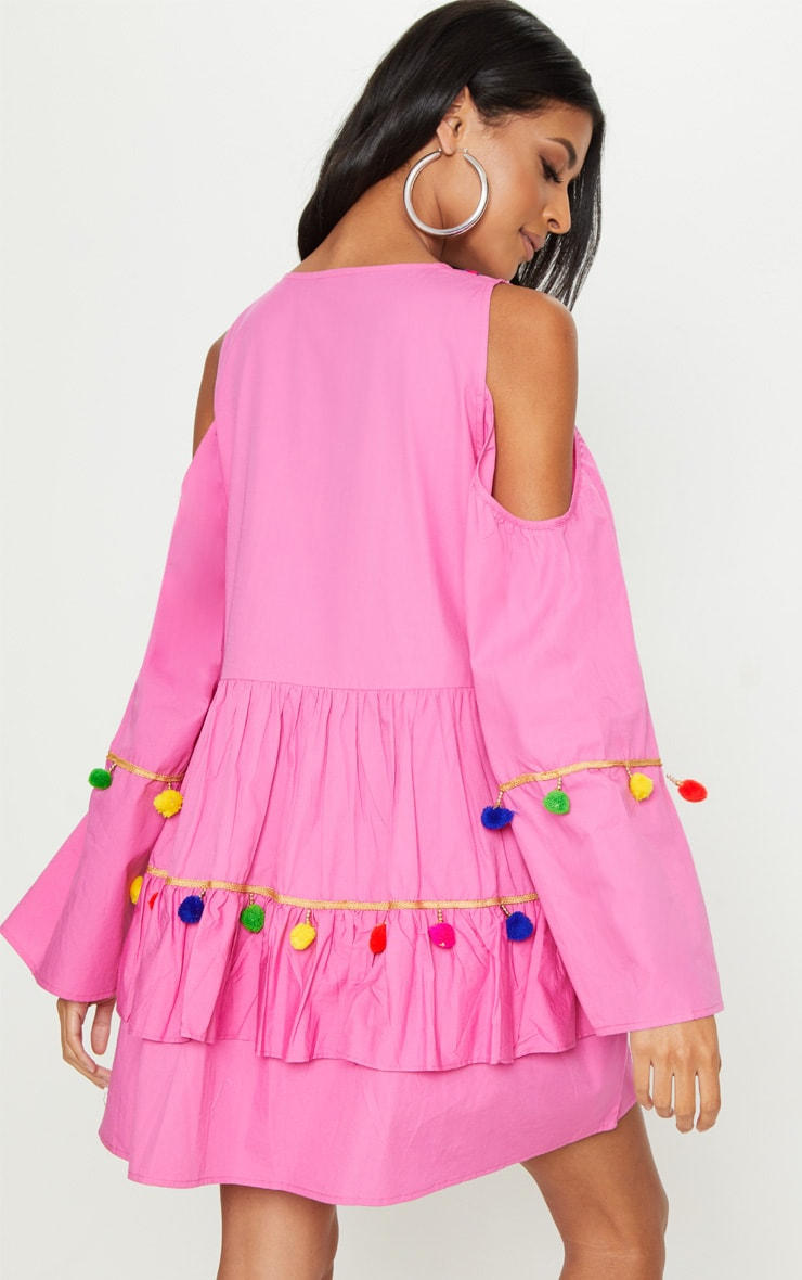 Pink Pink Pom Pom Mirror Trim Shift Dress 2