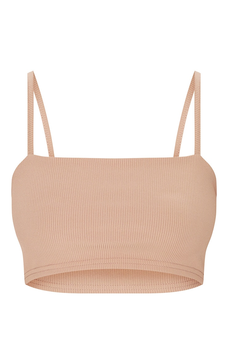 Petite Stone Ribbed Strappy Crop Top 3