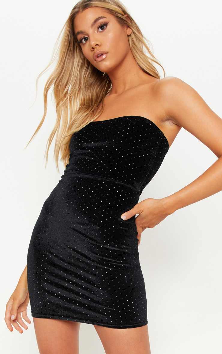 Black Velvet Metallic Polka Dot Bandeau Bodycon Dress