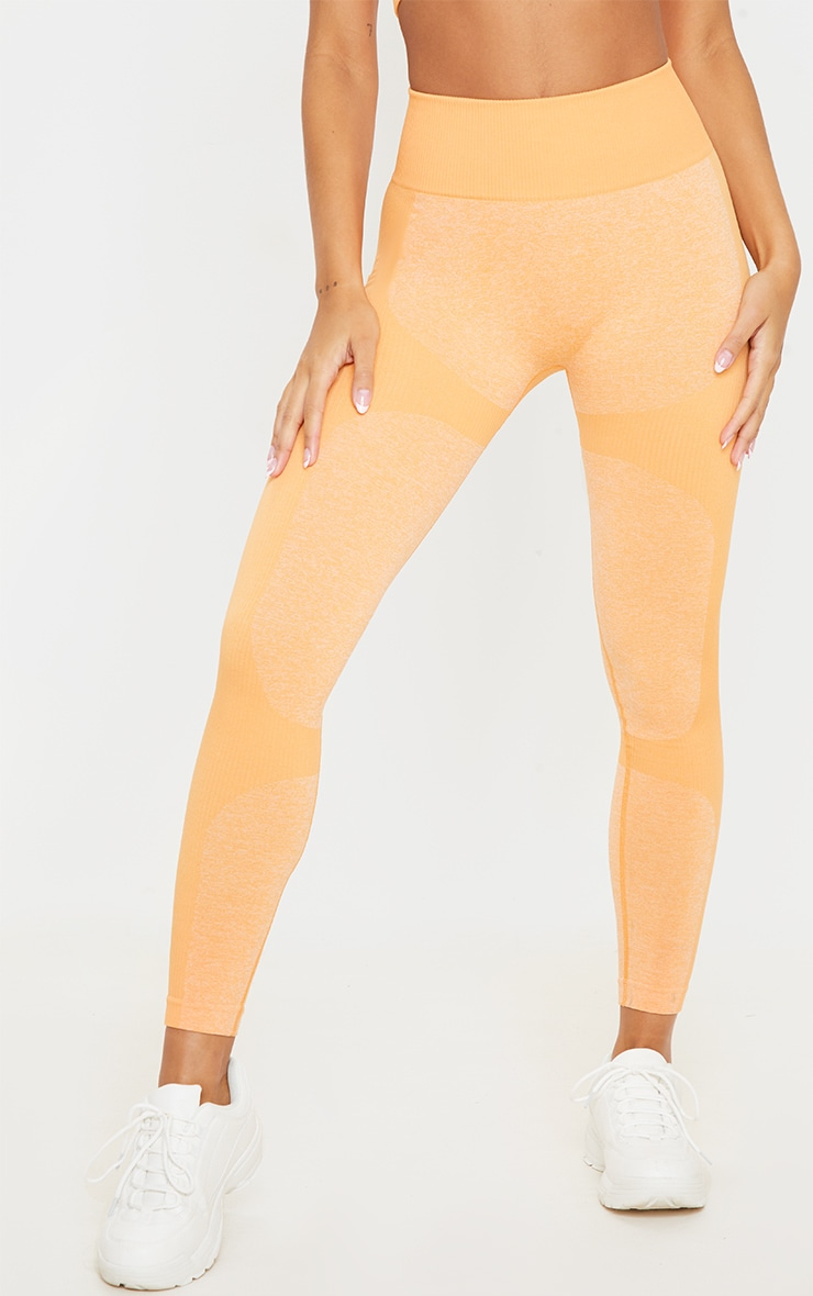 Orange Seamless 2 Tone Contour Legging 2