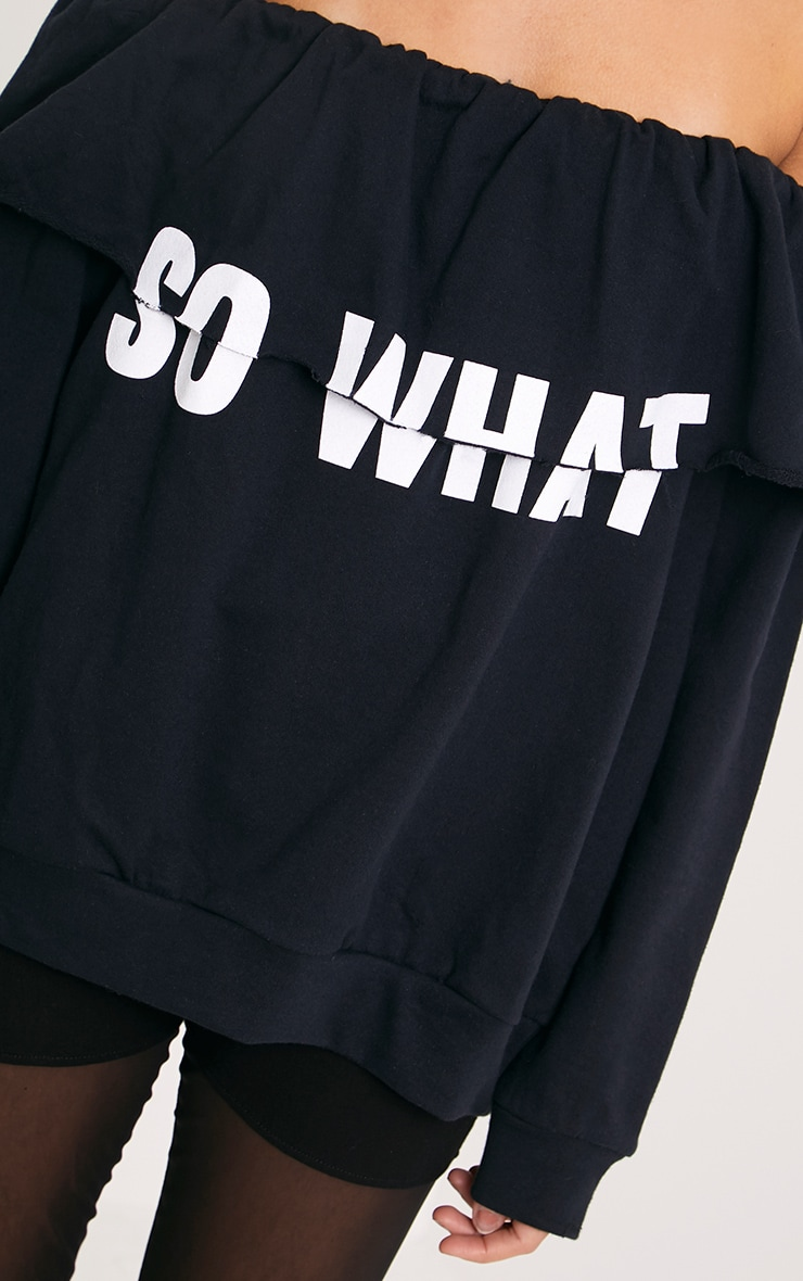 SO WHAT Slogan Black Bardot Oversized Sweater 5