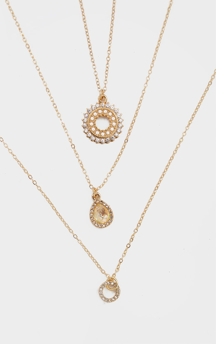 Gold Diamante Charm 3 Chain Layering Necklace 3