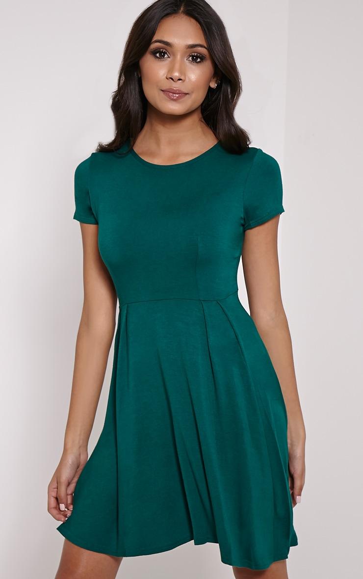 Basic Bottle Green Cap Sleeve Skater Dress 1