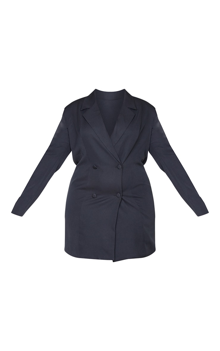 Plus Black Double Breasted Backless Blazer Dress 5