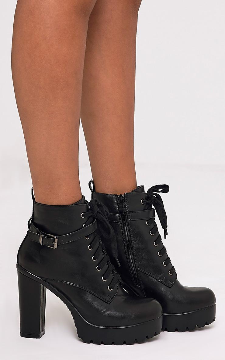 Audrinna Black Lace Platform Ankle Boots 3