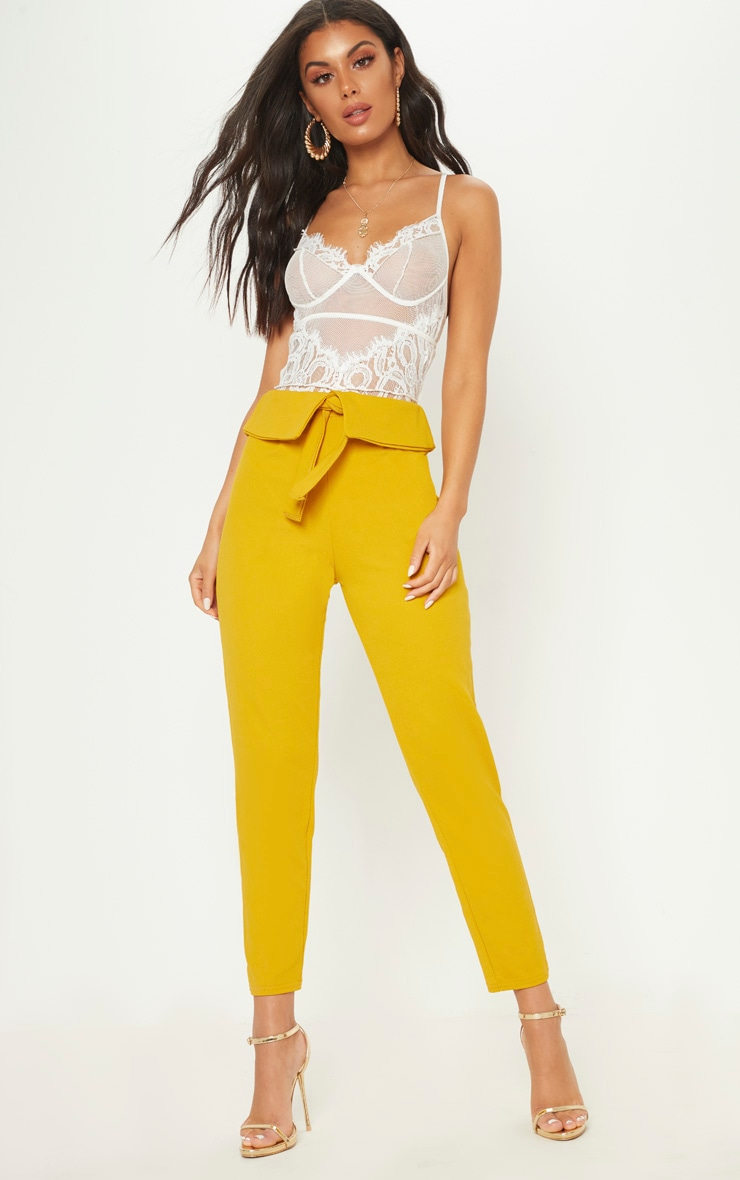 Mustard Turn Back Waist Detail Trouser