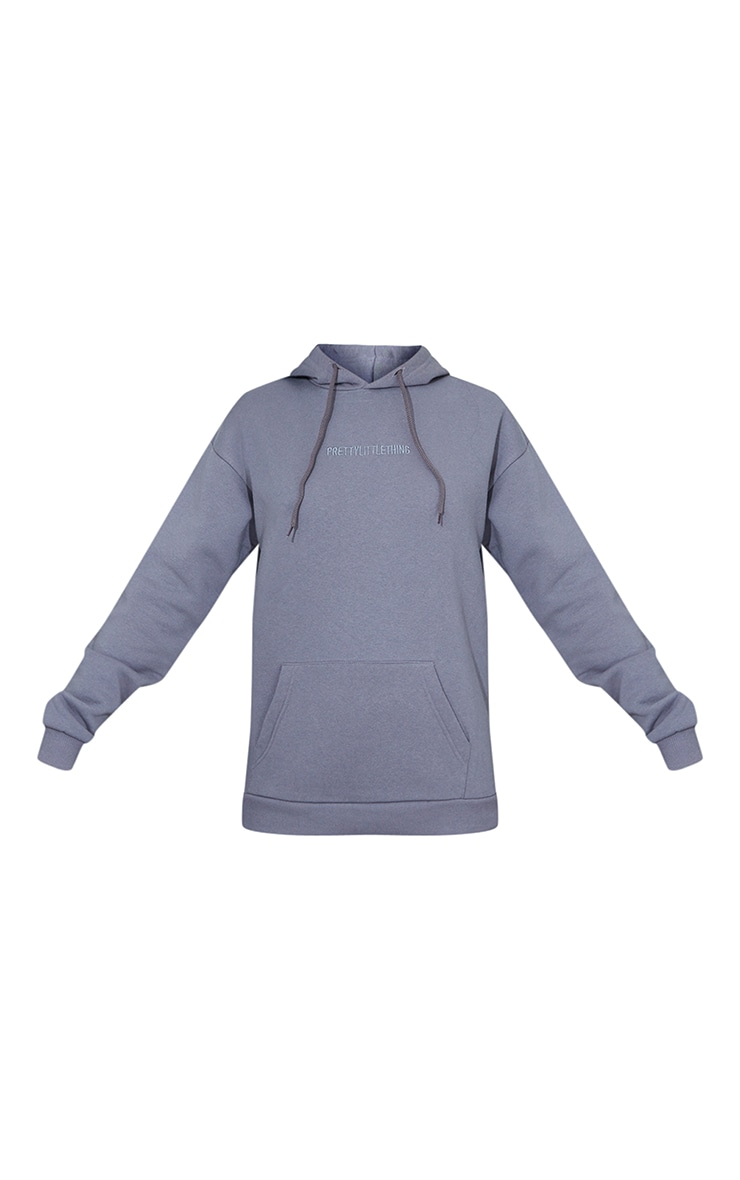 PRETTYLITTLETHING Charcoal Grey Embroidered Slogan Hoodie 5