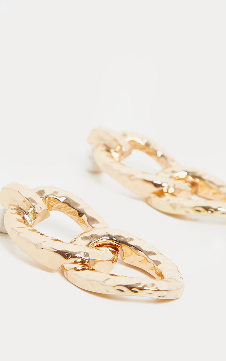 Gold Textured Double Drop Earrings 3