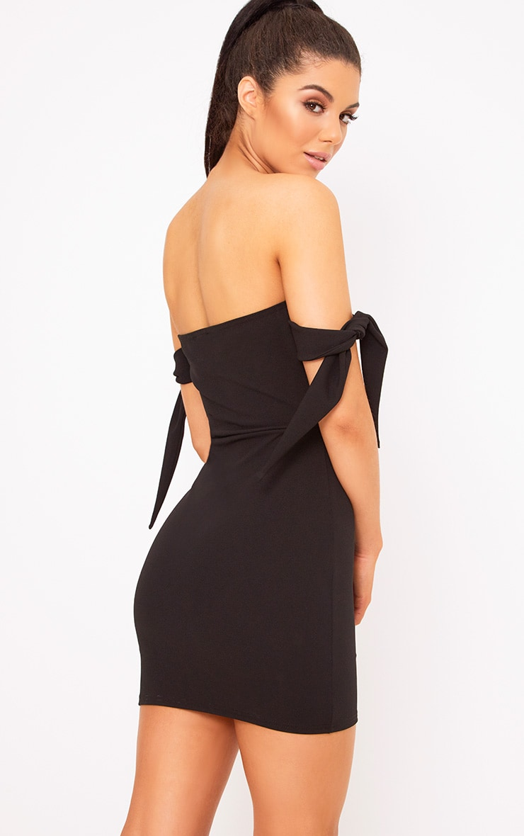 Black Tie Sleeve Corset Bodycon Dress 2