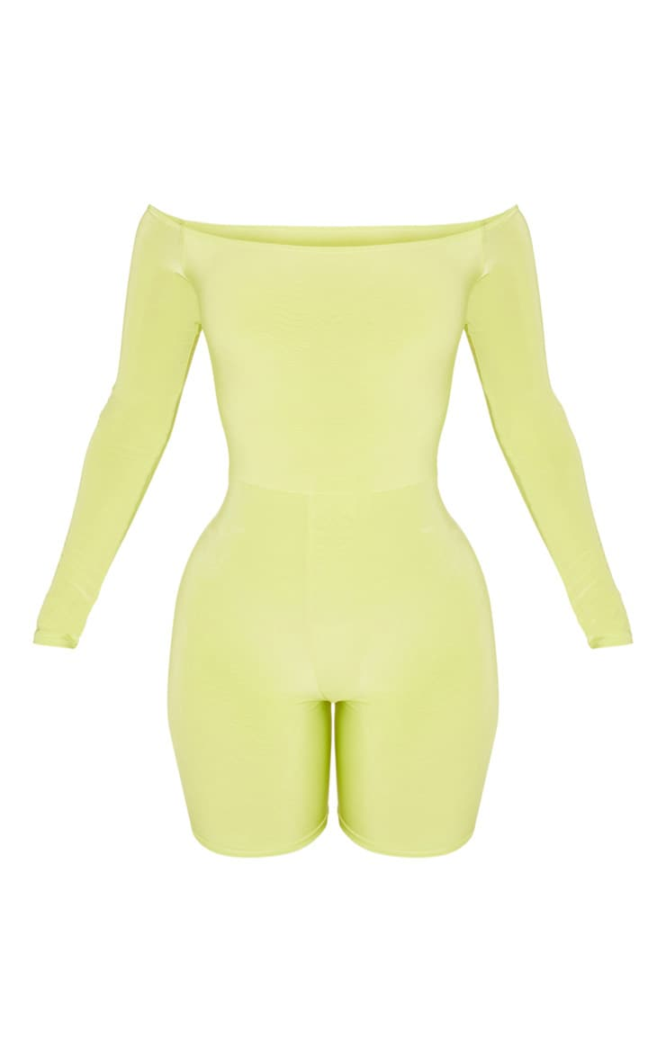 Shape Neon Lime Bardot Slinky Unitard 3