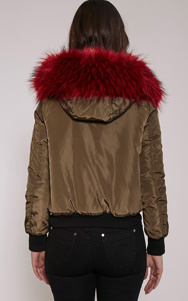 Lara Red  Faux Fur Lined Crop Parka 2