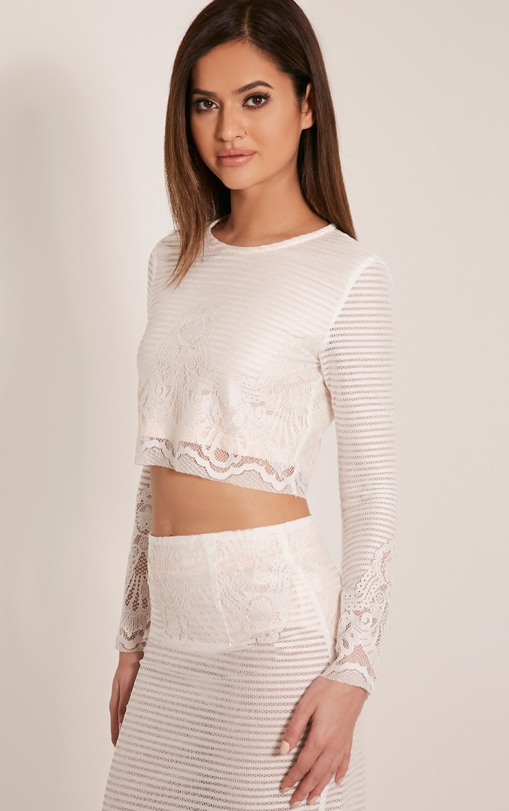 Robin White Striped Lace Crop Top 4