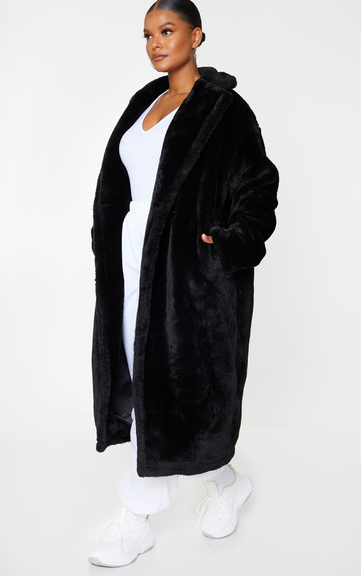 Plus Black Large Lapel Midaxi Faux Fur Coat 3