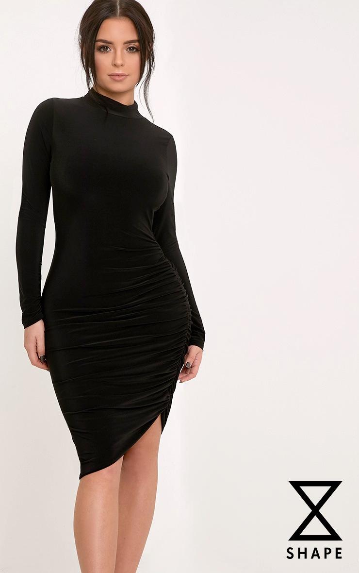 Shape Namaya Black High Necked Ruched Side Midi Dress 1