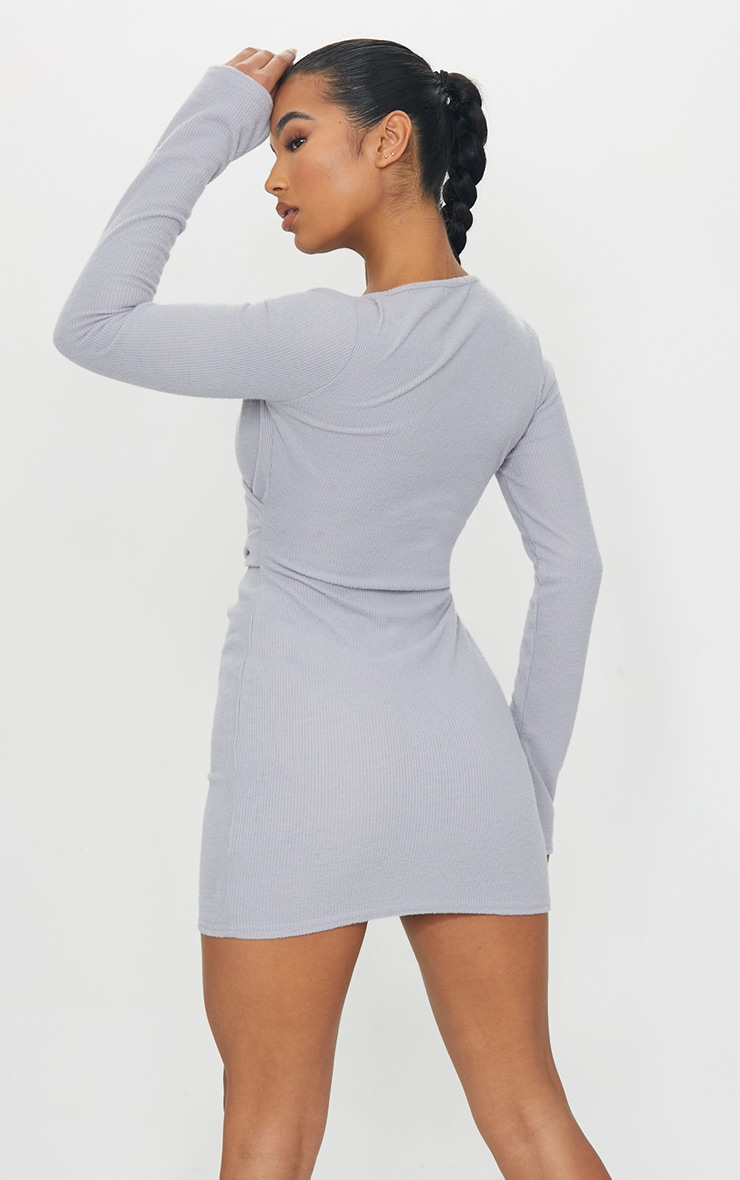 Grey Brushed Rib Wrap Waist Bodycon Dress 2