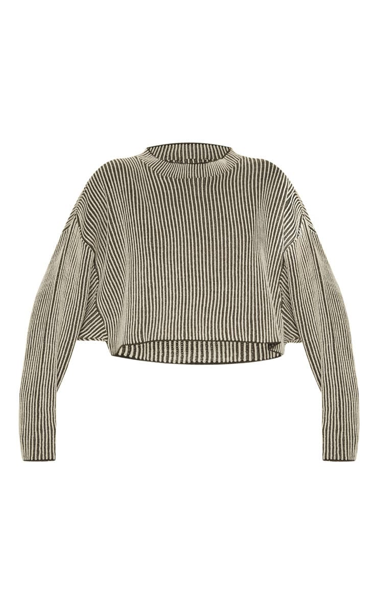 Stone Two Tone Knitted Batwing Jumper 3
