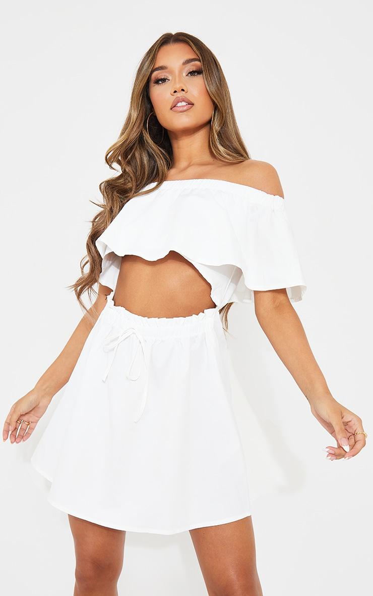 White Woven Frill Detail Cut Out Shift Dress 1