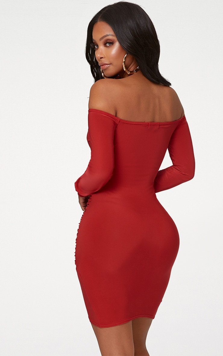 Shape Red Slinky Ruched Detail Bardot Dress 2