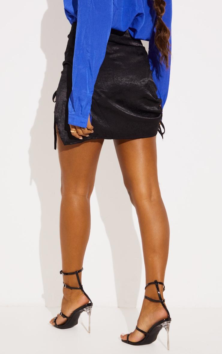 Black Hammered Satin Ruched Detail Mini Skirt 3